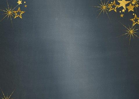 Kerstkaart stijlvol blauw met foto en gouden sterren 2