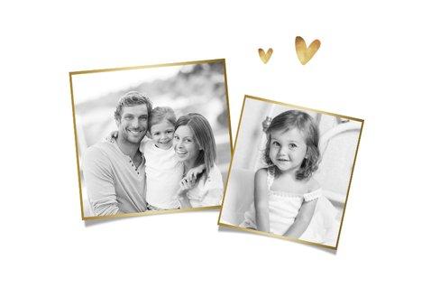 Kerstkaart stijlvol goud foto hartjes wit 2