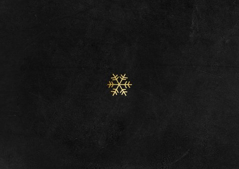 Kerstkaart stijlvol knuffel goud sneeuw krijtbord foto Achterkant