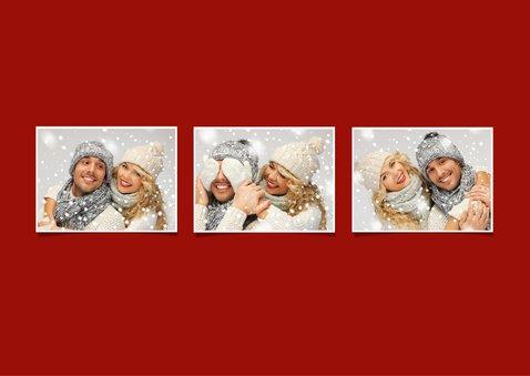 Kerstkaart stijlvol klassiek rood 2019 met foto's 2