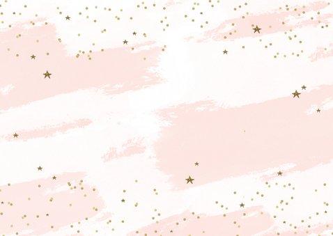 Kerstkaart tekst goudlook confetti sterren Achterkant