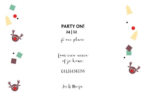 Kerstkaart uitnodiging feestje confetti 3