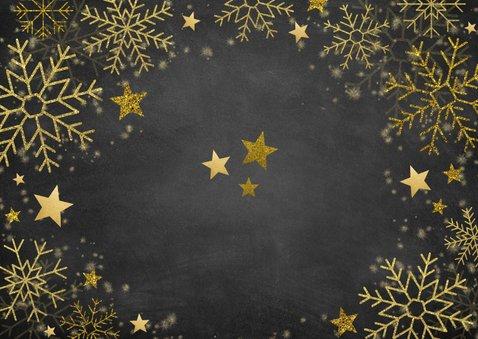 Kerstkaart veel gouden sneeuwvlokken, sterren en foto Achterkant