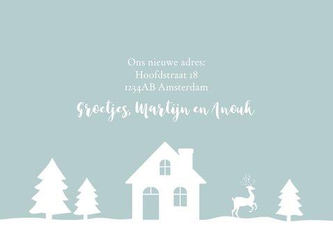 Kerstkaart verhuiskaart huisje sneeuw silhouet 3