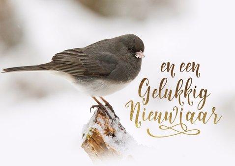 Kerstkaart vogel sneeuw goud 2