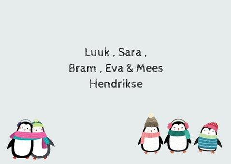 Kerstkaart voor het hele gezin met pinguïns 3