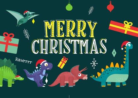 Kerstkaart vrolijk hip dinosaurus feest humor kinderen  2