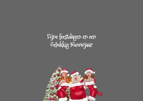 Kerstkaart Vrolijke dames met kerstmuts 3
