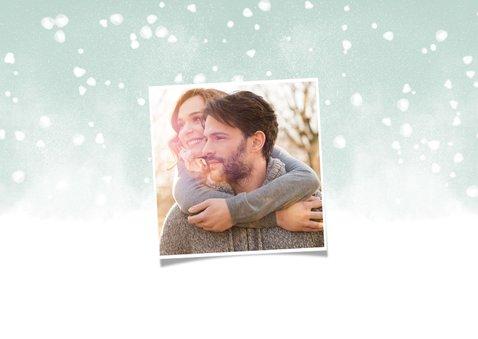 Kerstkaart Warm Wishes fotocollage met waterverf en sneeuw 2