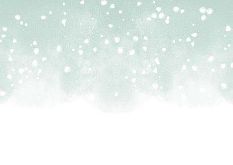 Kerstkaart Warm Wishes fotocollage met waterverf en sneeuw Achterkant
