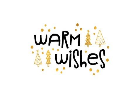 Kerstkaart 'warm wishes' goudlook met foto's 2