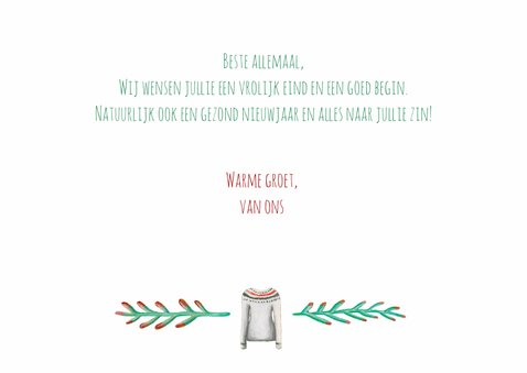 Kerstkaart warm wishes met illustraties 3
