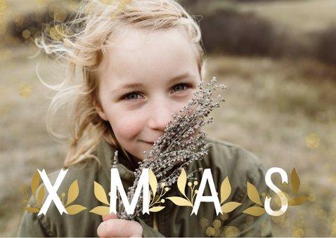 Kerstkaart XMAS goudlook grote foto met confetti 2