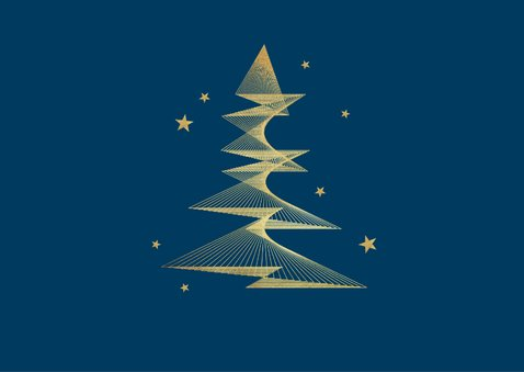 Kerstkaart zakelijk algemeen kerstboom goud foto sterren 2