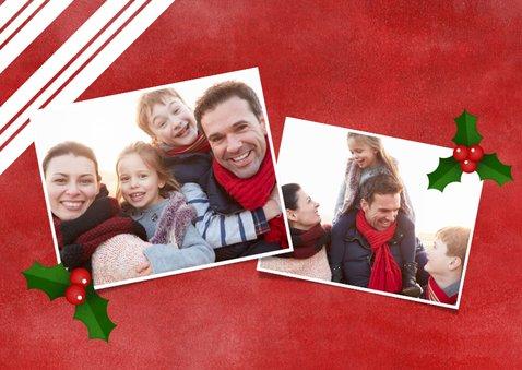 Kerstkaart zuurstok strepen, grote foto en Merry Christmas! 2