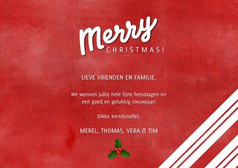 Kerstkaart zuurstok strepen, grote foto en Merry Christmas! 3