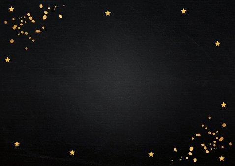 Kerstkaart zwart goudlook typografie rechthoekig 2