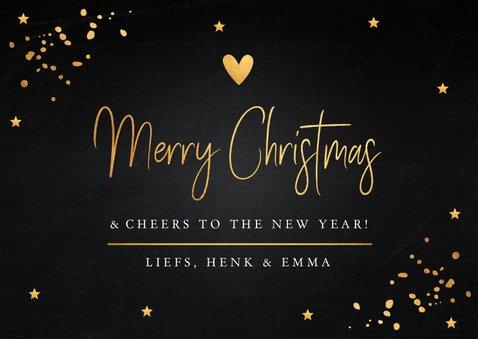 Kerstkaart zwart goudlook typografie rechthoekig 3