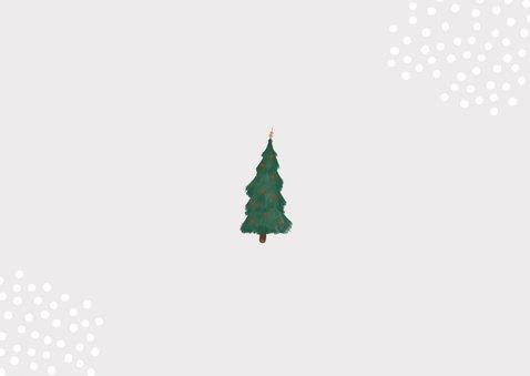 Kerstverhuiskaart rode verhuisbus kerstboom en logo  Achterkant