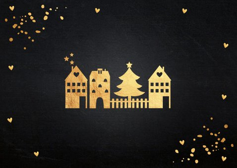 Kerstverhuiskaart zwart confetti goudlook huisjes 2