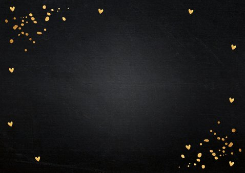 Kerstverhuiskaart zwart confetti goudlook huisjes Achterkant
