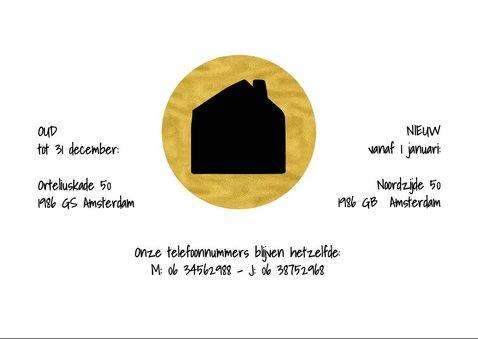 Kerstverhuiskaart zwart met goud cirkels en huis 2