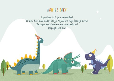Kindefeestje dino feest vrolijk fotokaart brachiosaurus 3