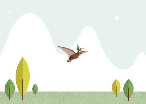 Kindefeestje t-rex feest vrolijk dinosaurus vogel foto Achterkant