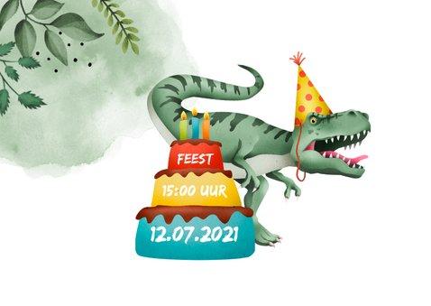 Kinderfeest uitnodiging stoer met t-rex en eigen foto 2