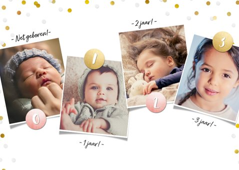 Kinderfeestje fotocollage 3 jaar met 3 foto's en confetti 2