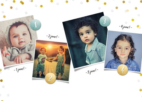 Kinderfeestje fotocollage uitnodiging 4 jaar met 4 foto's 2