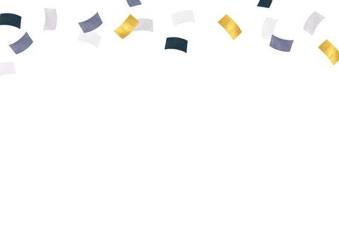 Kinderfeestje jongen confetti goud blauw foto feest Achterkant