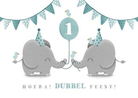 Kinderfeestje tweeling olifantjes met ballon en slingers 2