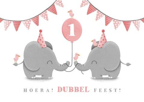 Kinderfeestje tweeling olifantjes met slingers en ballon 2