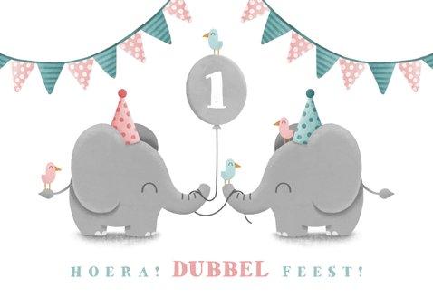 Kinderfeestje tweeling olifantjes uni met ballon en slingers 2