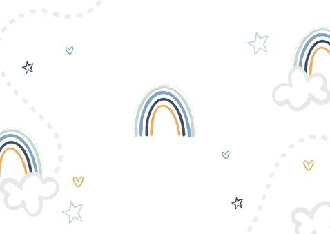 Kinderfeestje tweeling wolken regenboogjes sterren hartjes Achterkant