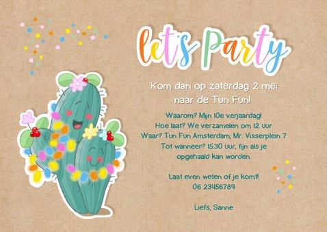 Kinderfeestje uitnodiging fancactus feestje 3