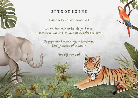 Kinderfeestje uitnodiging jungle dieren tropisch foto 3