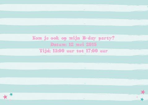 Kinderfeestje uitnodiging meisje foto mint roze 3