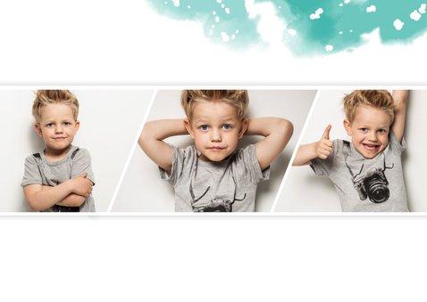 Kinderfeestje uitnodiging met ballonnen en fotostrip 2