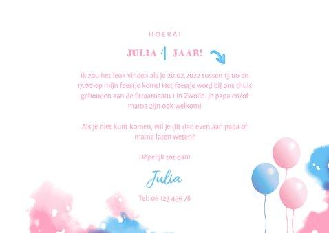 Kinderfeestje uitnodiging met fotostrip en ballonnen 3
