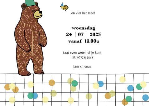Kinderfeestje uitnodiging met gezellige beer 3