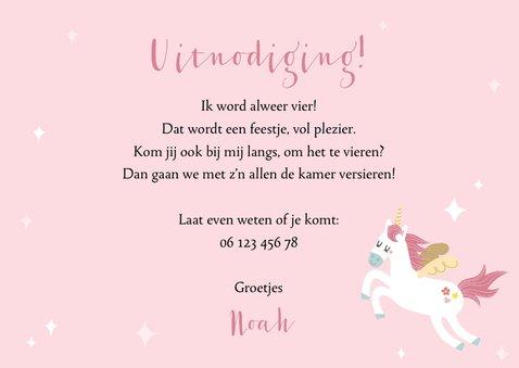 Kinderfeestje uitnodiging met unicorn en regenboog 3