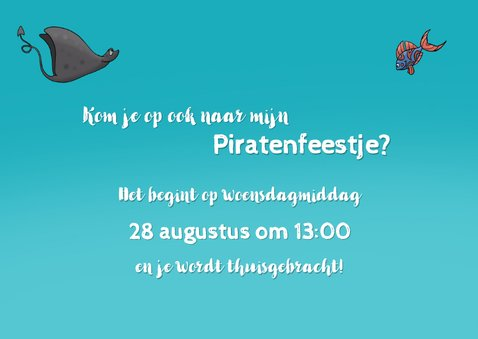 Kinderfeestje uitnodiging Piratenfeest 2