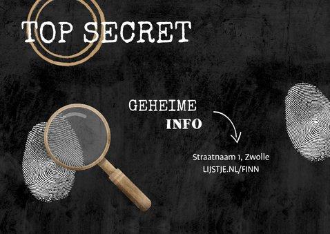 Kinderfeestje uitnodiging top secret detective feestje 2
