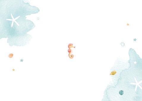 Kinderfeestje uitnodiging zeemeermin dieren water foto Achterkant