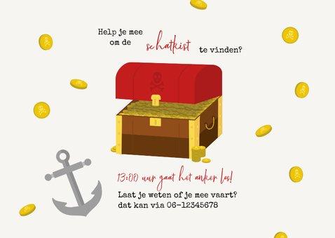 Kinderfeestje uitnodigingskaart piraten schatkist 2