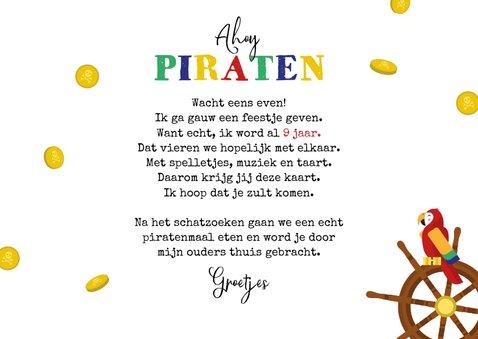 Kinderfeestje uitnodigingskaart piraten schatkist 3