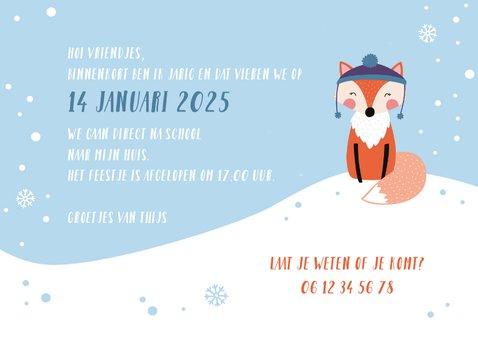 Kinderfeestje uitnodigingskaart winter vosje 3