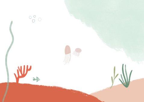 Kinderfeestje zeemeermin onderwater uitnodiging meisje Achterkant